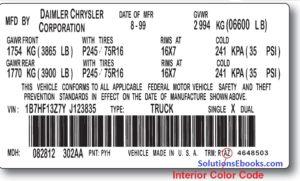 Interior Color Code label door Dodge Ram pickup truck 1998-2001 1500 98-02 2500 3500