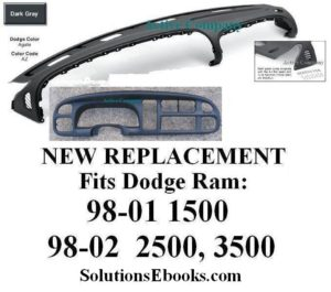 1998 1999 2000 2001 Dodge Ram 1500 Agate Dark Gray Dashboard Top Dashpad Instrument Bezel Replacement
